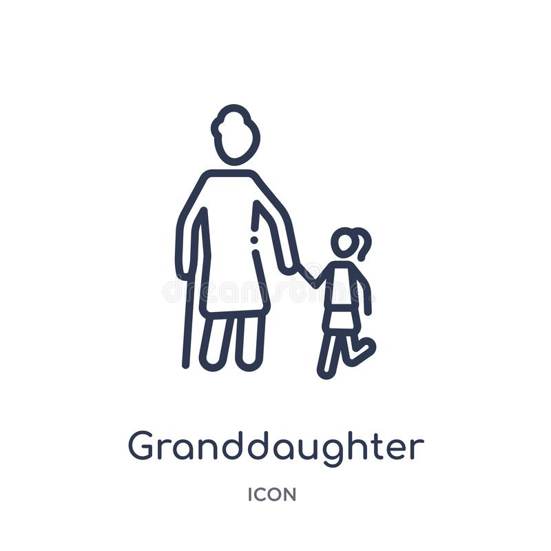 Linear granddaughter icon from Family relations outline collection. Thin line granddaughter vector isolated on white background. stock illustration