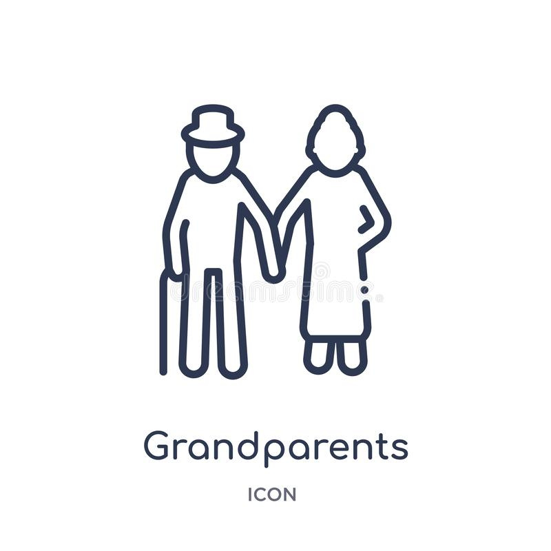 Linear grandparents icon from Family relations outline collection. Thin line grandparents vector isolated on white background. Grandparents trendy illustration vector illustration