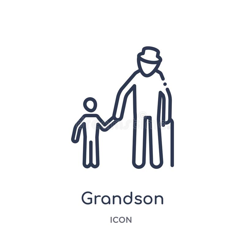 Linear grandson icon from Family relations outline collection. Thin line grandson vector isolated on white background. grandson stock illustration