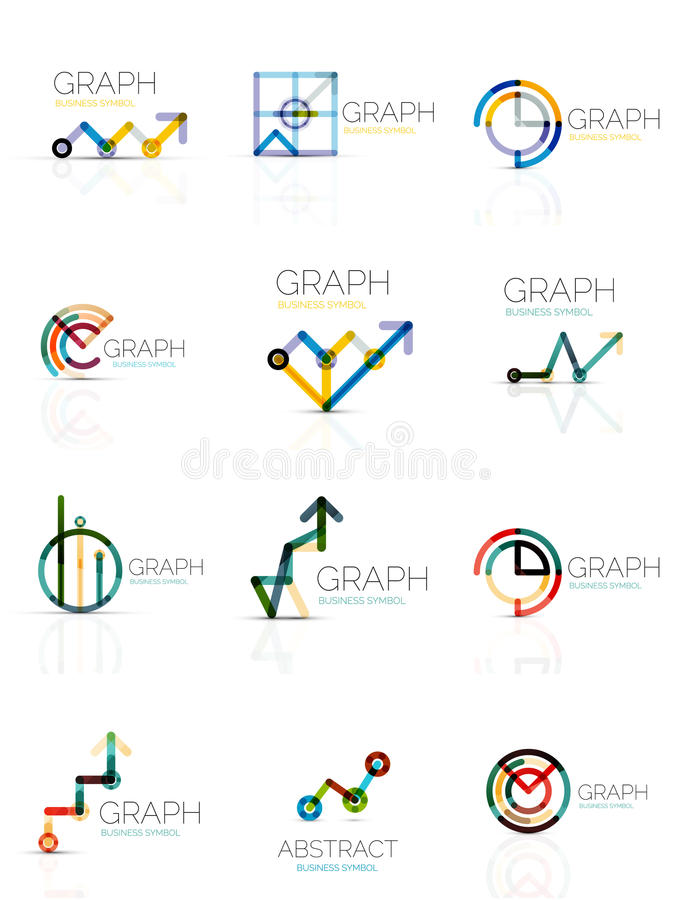 Linear Graph And Chart Abstract Logo Set Connected Multicolored