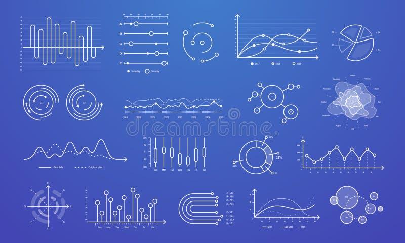 Linear graph chart. Thin line charts, modern statistics graphs and circular bar progress presentation diagram isolated stock illustration