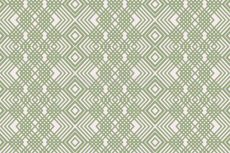 Linear green ornament. Uncomplicated simple background from the ornament of green lines on a light background vector illustration