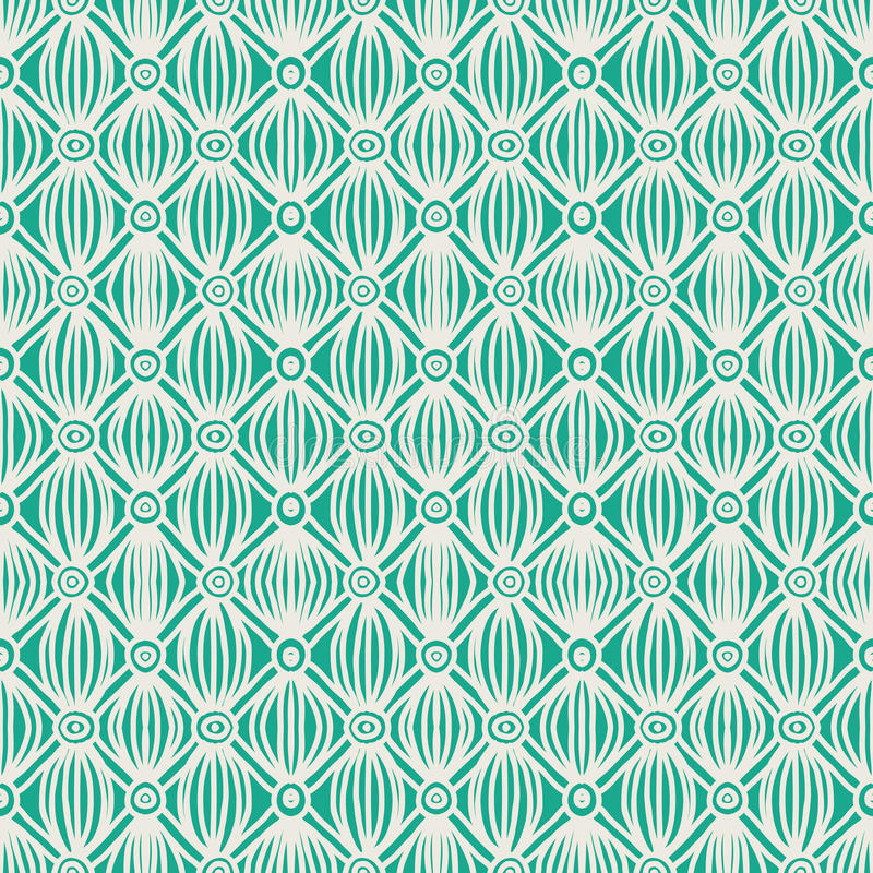Linear Green Tribal Seamless Pattern Royalty Free Stock Images