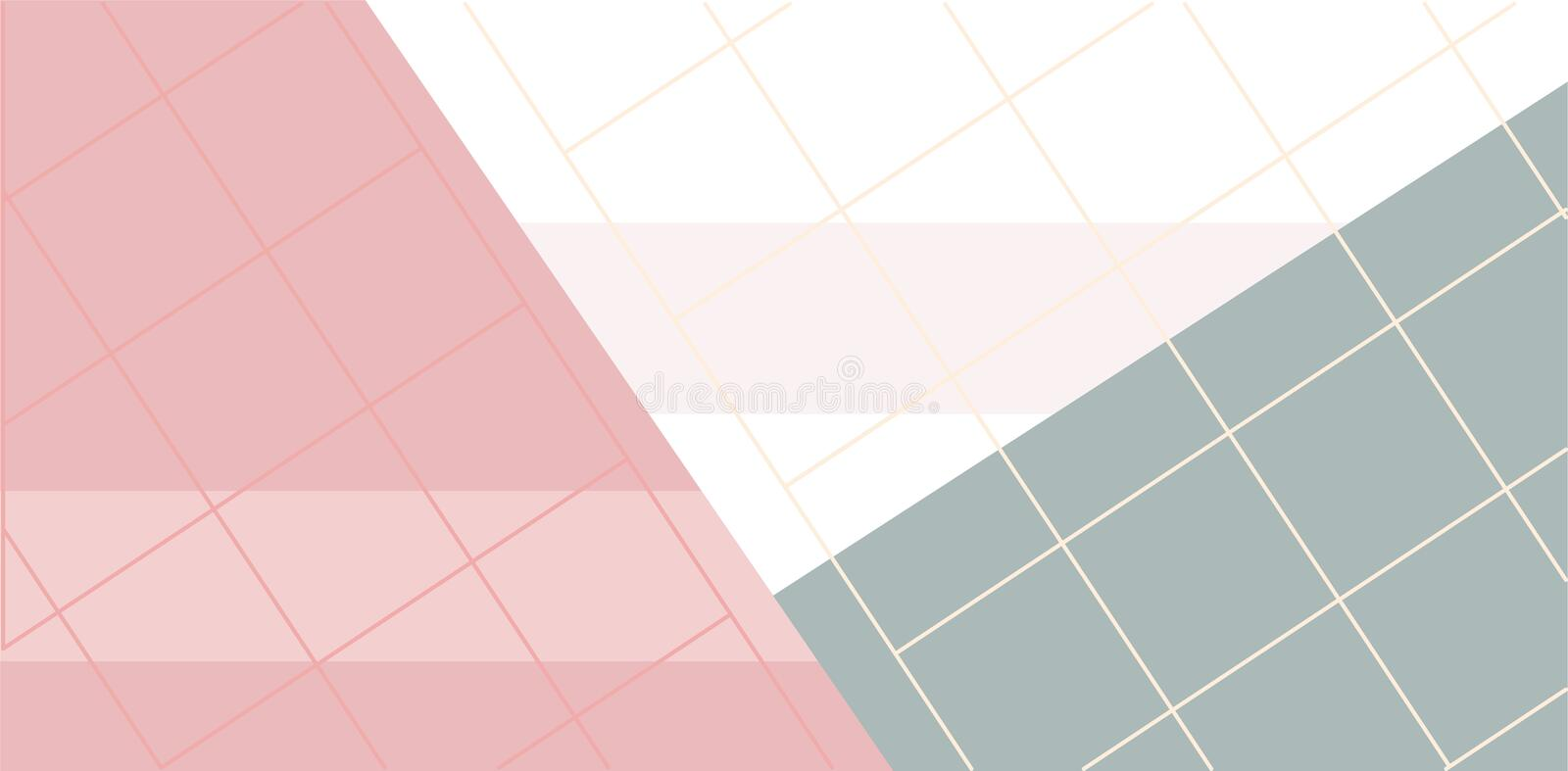 Linear grid with geometric shapes, squares, triangle.Abstract art background with geometric elements. Vector illustration royalty free illustration