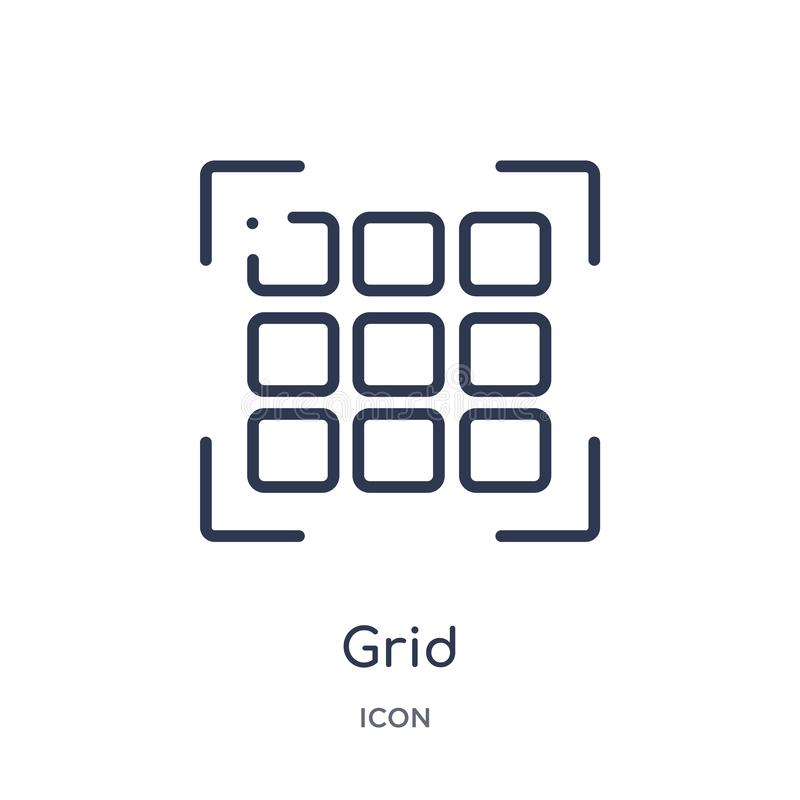 Linear grid icon from Creative process outline collection. Thin line grid vector isolated on white background. grid trendy stock illustration