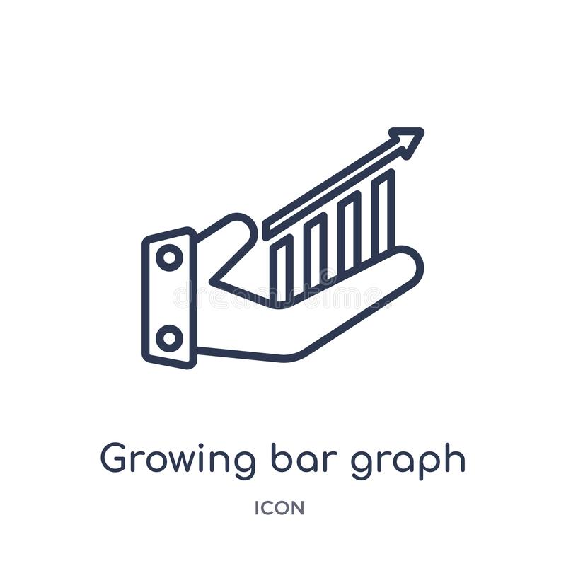 Linear growing bar graph icon from Business outline collection. Thin line growing bar graph icon isolated on white background. stock illustration