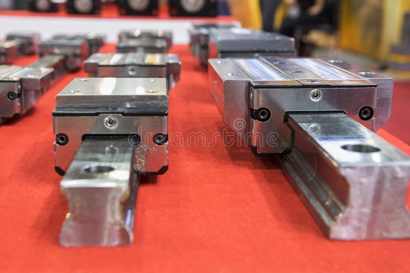 Linear guide for machine spare parts. Close up stock photos