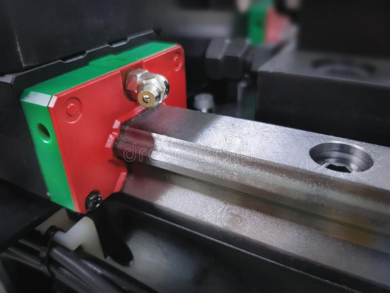 Linear Guide Rail and Block for Machinery. Mechanical Engineering Scheme Linear Guide Rail and Block royalty free stock photo