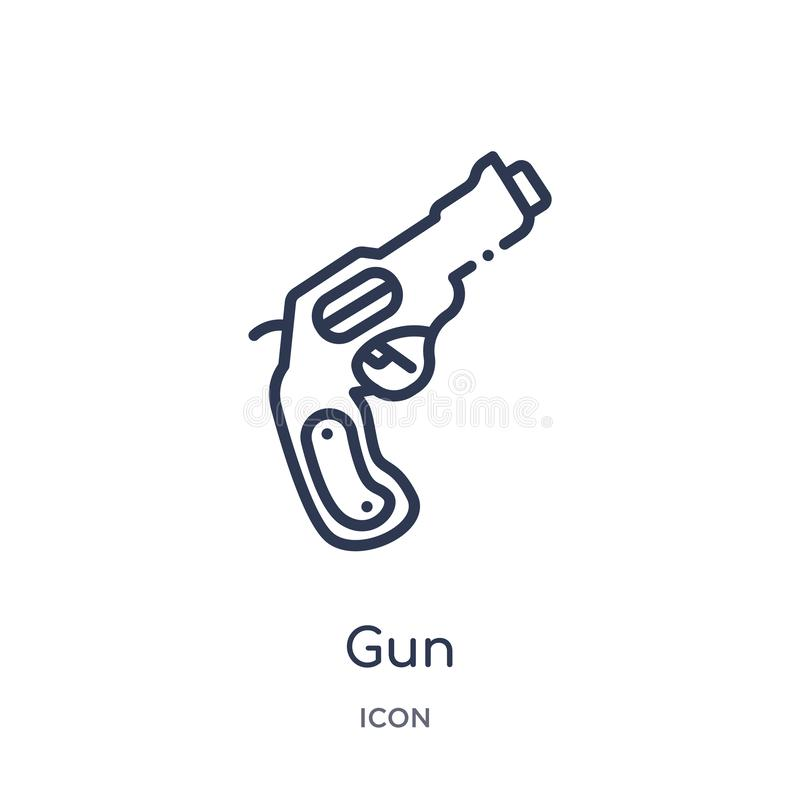 Linear gun icon from Army and war outline collection. Thin line gun vector isolated on white background. gun trendy illustration royalty free illustration