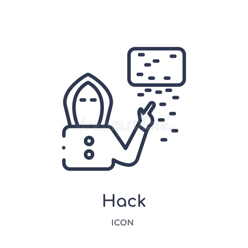 Linear hack icon from Cyber outline collection. Thin line hack vector isolated on white background. hack trendy illustration royalty free illustration