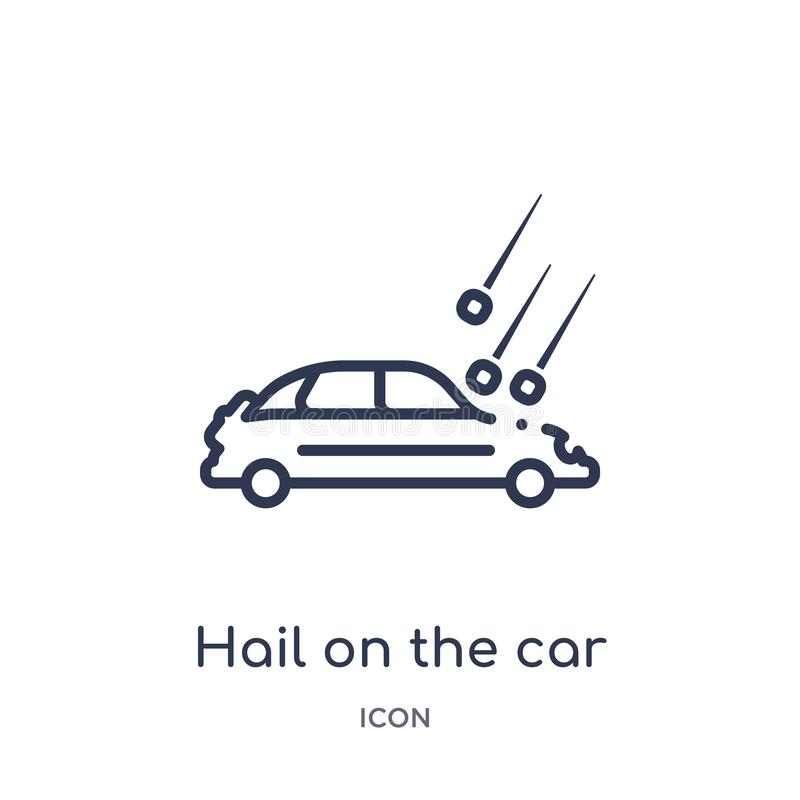 Linear hail on the car icon from Insurance outline collection. Thin line hail on the car icon isolated on white background. hail stock illustration