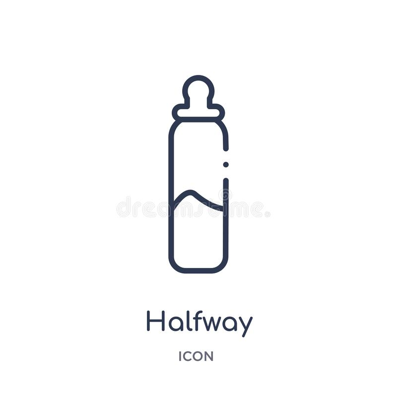 Linear halfway icon from Education outline collection. Thin line halfway vector isolated on white background. halfway trendy stock illustration
