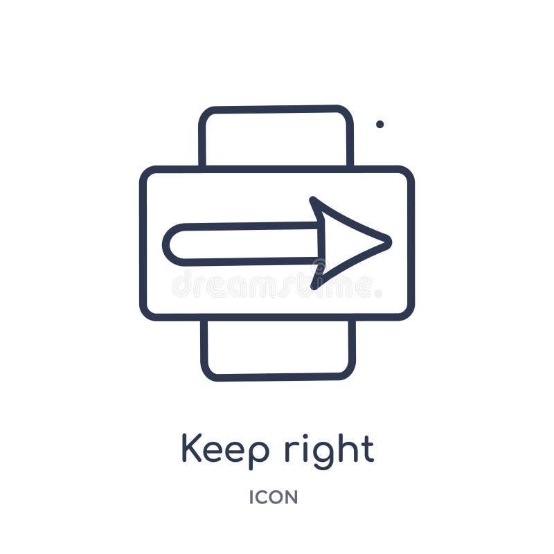 Linear halten Sie rechte Ikone von der wachsamen Entwurfssammlung Dünne Linie halten rechten Vektor lokalisiert auf weißem Hinter stock abbildung
