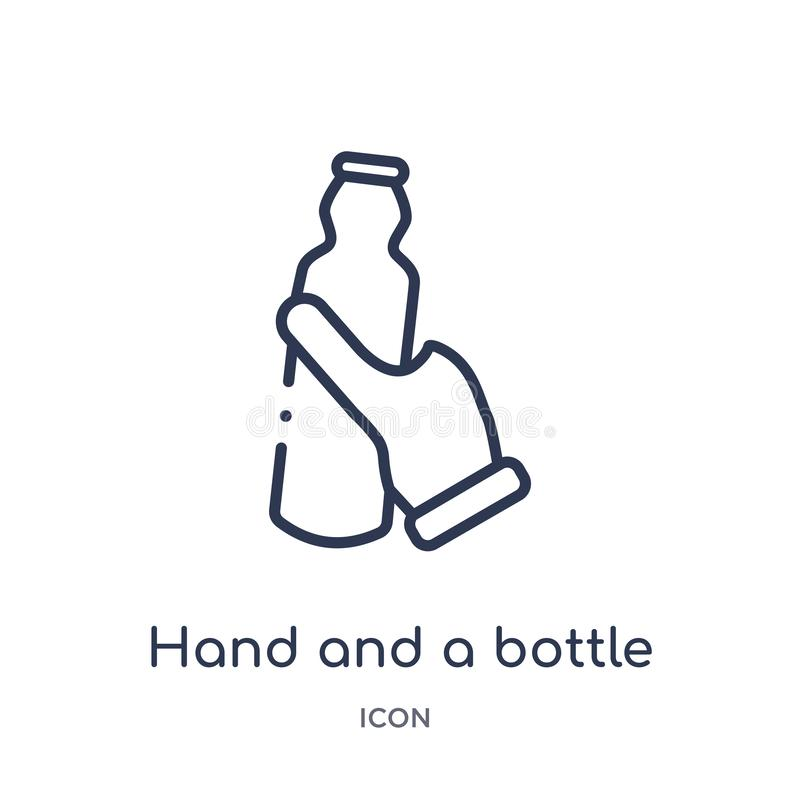 Linear hand and a bottle icon from Hands and guestures outline collection. Thin line hand and a bottle icon isolated on white stock illustration