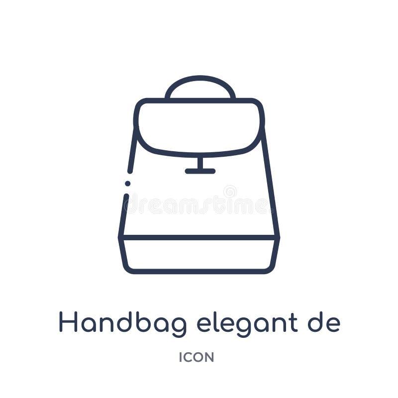 Linear handbag elegant de icon from Fashion outline collection. Thin line handbag elegant de icon isolated on white background. vector illustration