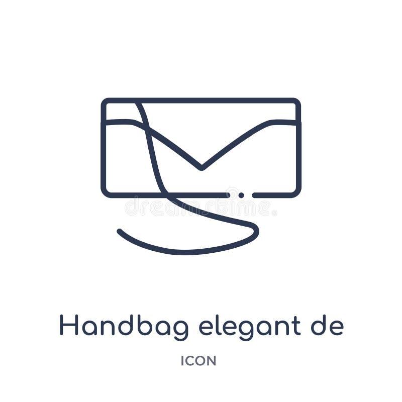 Linear handbag elegant de icon from Fashion outline collection. Thin line handbag elegant de icon isolated on white background. stock illustration