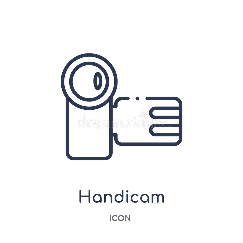 Linear handicam icon from Cinema outline collection. Thin line handicam vector isolated on white background. handicam trendy vector illustration