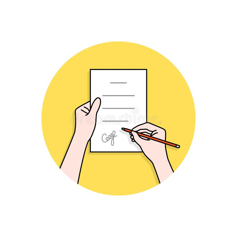 Linear hands with signed contract. Concept of man or woman with confirm outcome or inference and ownership doc. cartoon flat modern logo graphic art design royalty free illustration