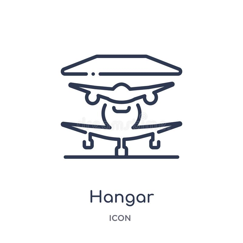 Linear hangar icon from Airport terminal outline collection. Thin line hangar vector isolated on white background. hangar trendy stock illustration