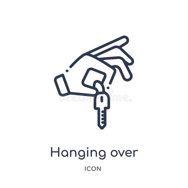 Linear hanging over the key icon from Gestures outline collection. Thin line hanging over the key icon isolated on white vector illustration