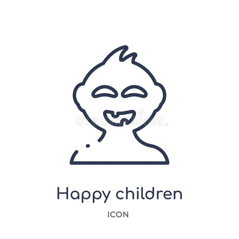 Linear happy children icon from Kids and baby outline collection. Thin line happy children icon isolated on white background. royalty free illustration