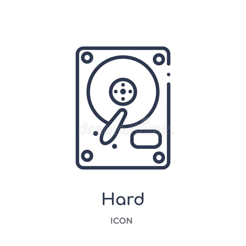 Linear hard icon from Electronic devices outline collection. Thin line hard vector isolated on white background. hard trendy stock illustration