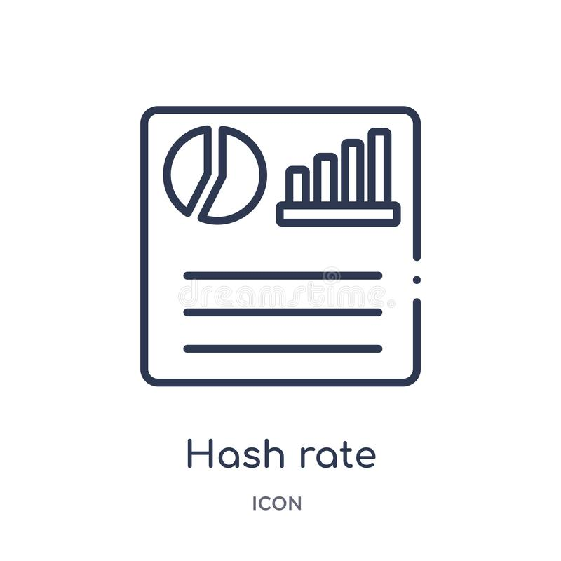 Linear hash rate icon from Business and finance outline collection. Thin line hash rate icon isolated on white background. hash royalty free illustration