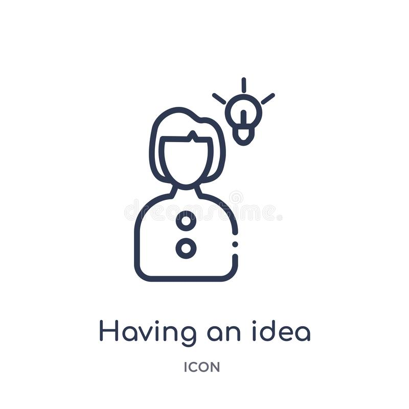 Linear having an idea icon from Education outline collection. Thin line having an idea vector isolated on white background. having royalty free illustration