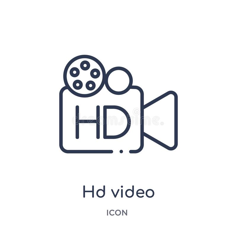 Linear hd video icon from Cinema outline collection. Thin line hd video vector isolated on white background. hd video trendy vector illustration