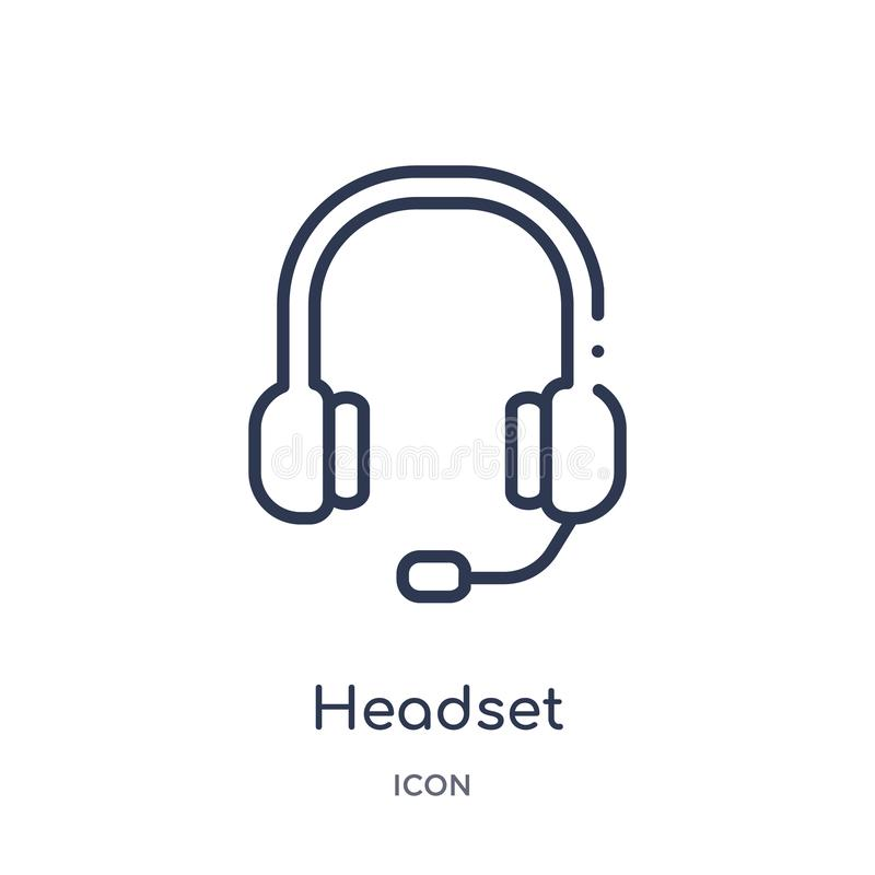 Linear headset icon from Customer service outline collection. Thin line headset vector isolated on white background. headset. Trendy illustration royalty free illustration