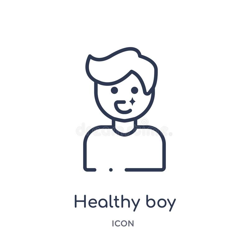 Linear healthy boy icon from Dentist outline collection. Thin line healthy boy icon isolated on white background. healthy boy royalty free illustration