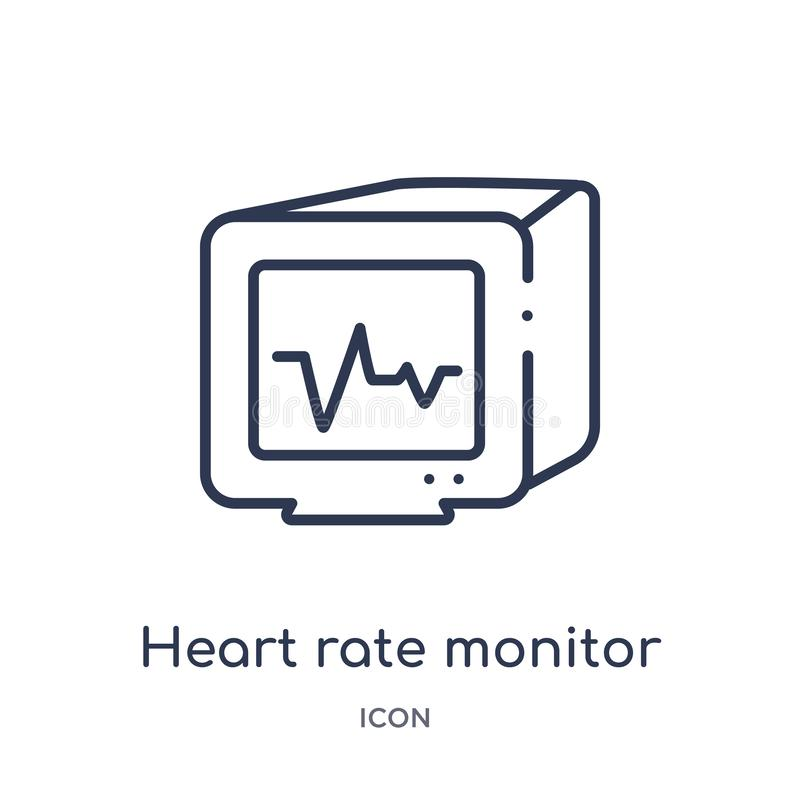 Linear heart rate monitor icon from Medical outline collection. Thin line heart rate monitor icon isolated on white background. stock illustration