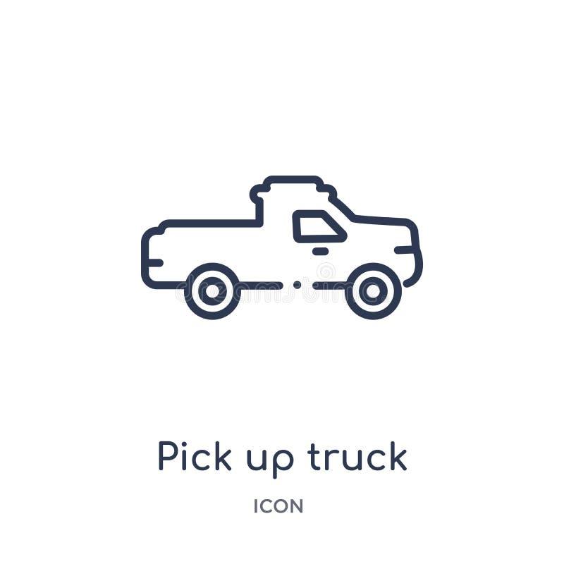 Linear heben Sie LKW-Ikone von der Mechanicons-Entwurfssammlung auf Dünne Linie heben die LKW-Ikone auf, die auf weißem Hintergru stock abbildung