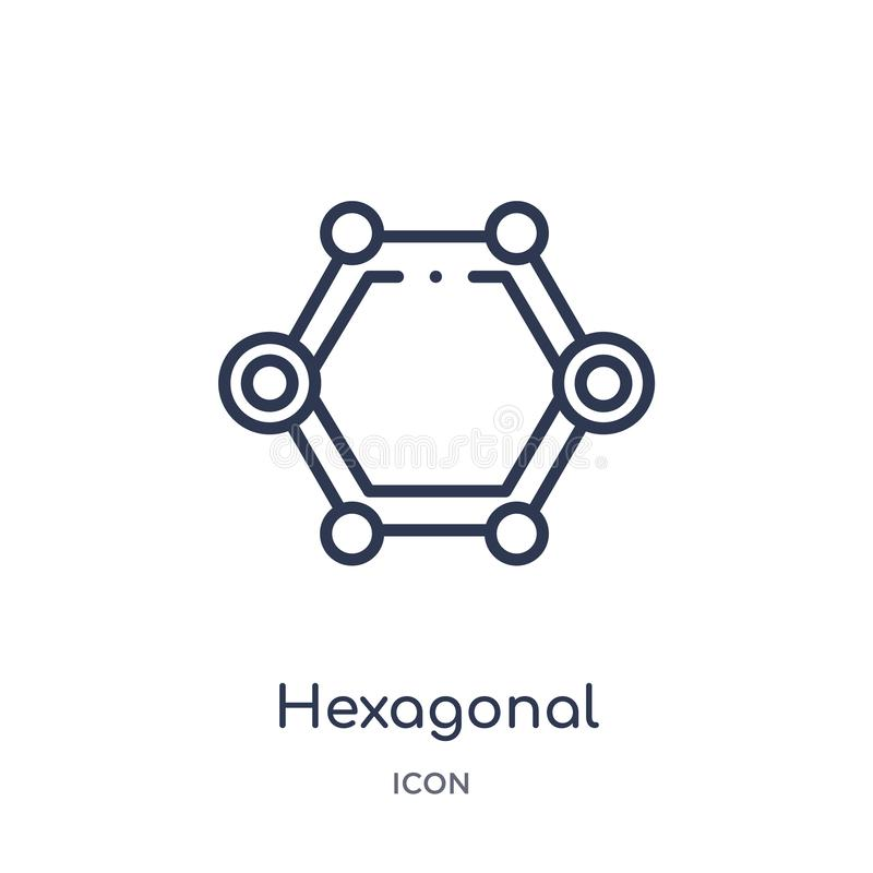 Linear hexagonal interconnections icon from Business and analytics outline collection. Thin line hexagonal interconnections vector vector illustration