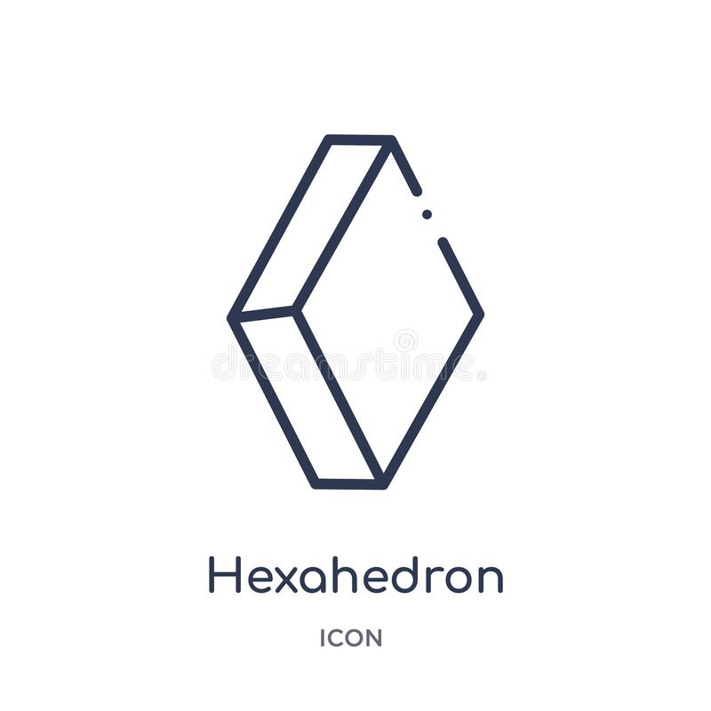 Linear hexahedron icon from Geometry outline collection. Thin line hexahedron icon isolated on white background. hexahedron trendy stock illustration