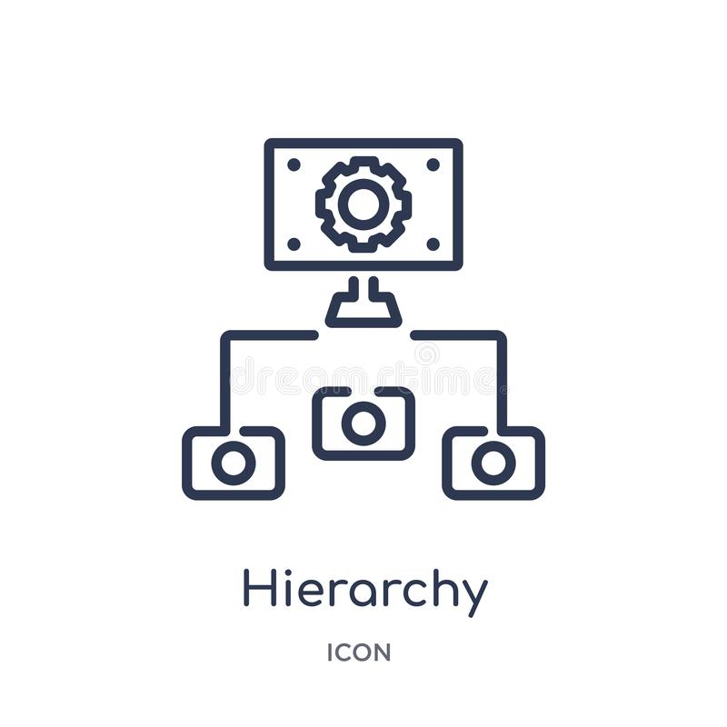 Linear hierarchy structure icon from Business outline collection. Thin line hierarchy structure icon isolated on white background royalty free illustration