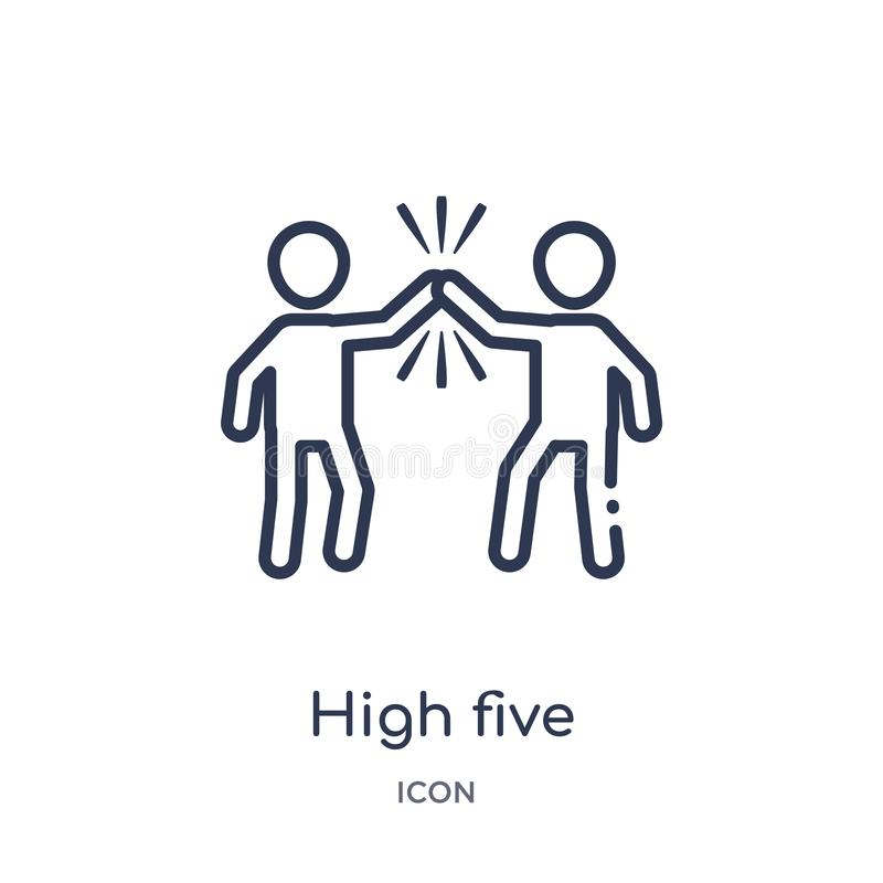 Linear high five icon from Humans outline collection. Thin line high five icon isolated on white background. high five trendy vector illustration