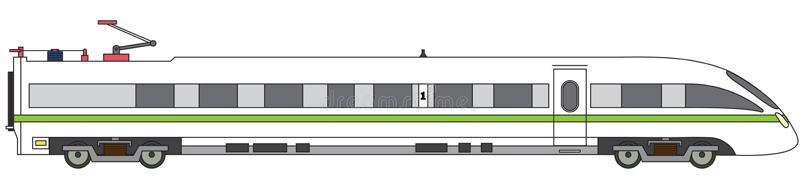 Linear high-speed train vector express railway illustration royalty free illustration