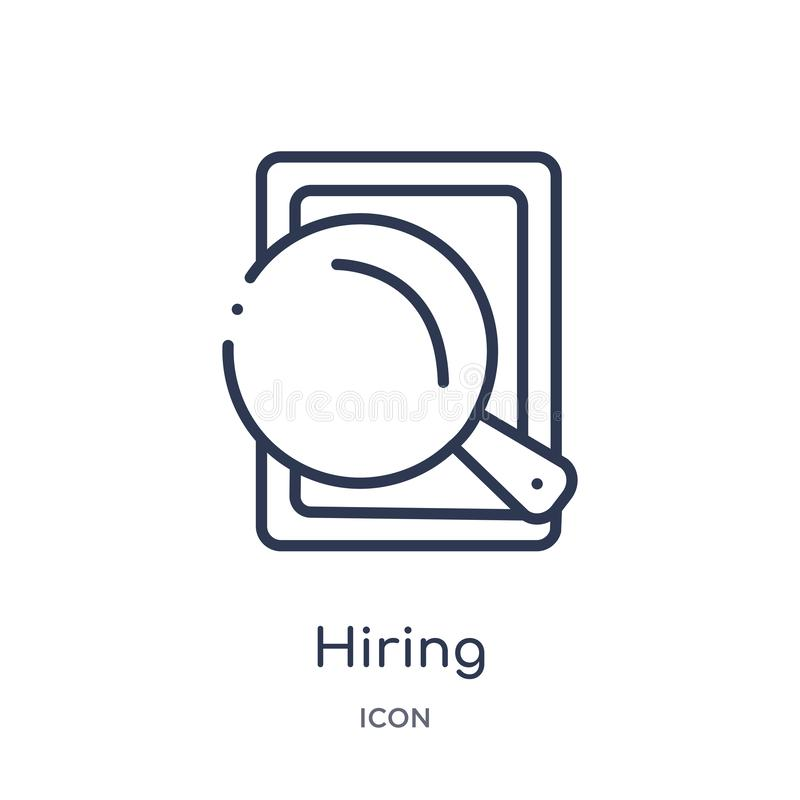 Linear hiring icon from Human resources outline collection. Thin line hiring icon isolated on white background. hiring trendy royalty free illustration
