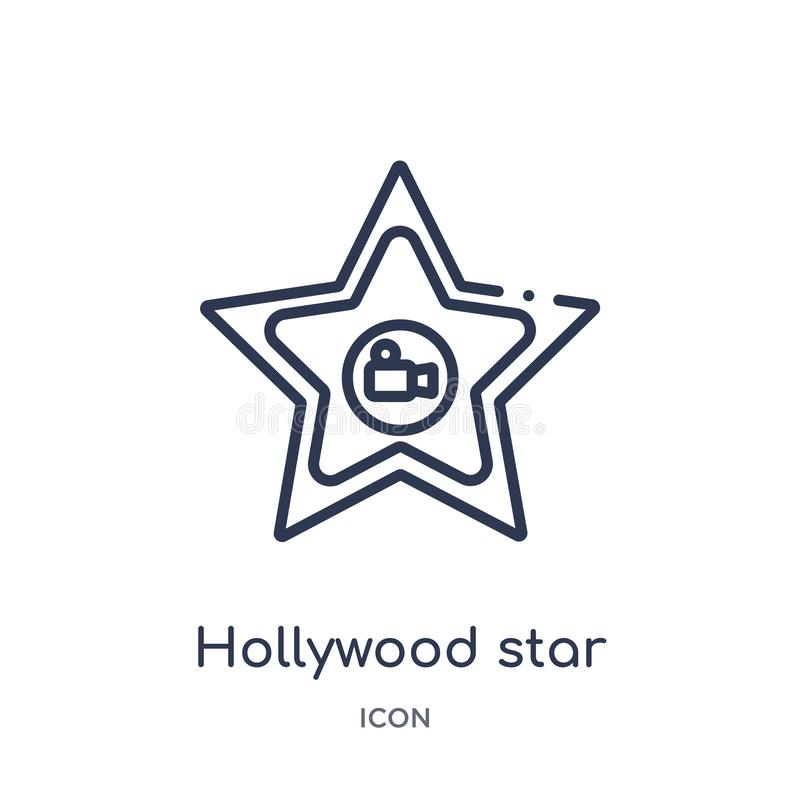 Linear hollywood star icon from Cinema outline collection. Thin line hollywood star vector isolated on white background. hollywood vector illustration