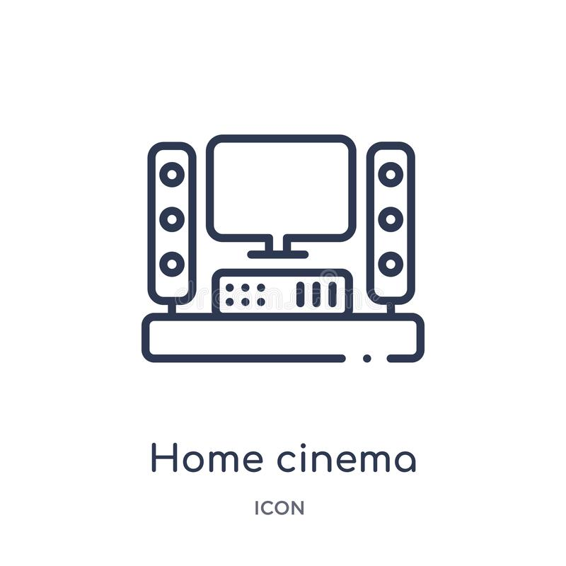 Linear home cinema icon from Cinema outline collection. Thin line home cinema vector isolated on white background. home cinema stock illustration
