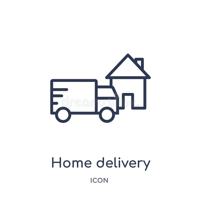 Linear home delivery icon from Delivery and logistics outline collection. Thin line home delivery vector isolated on white vector illustration
