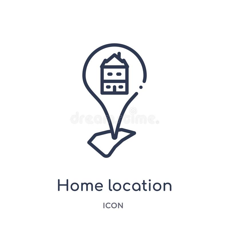 Linear home location icon from Maps and locations outline collection. Thin line home location icon isolated on white background. royalty free illustration