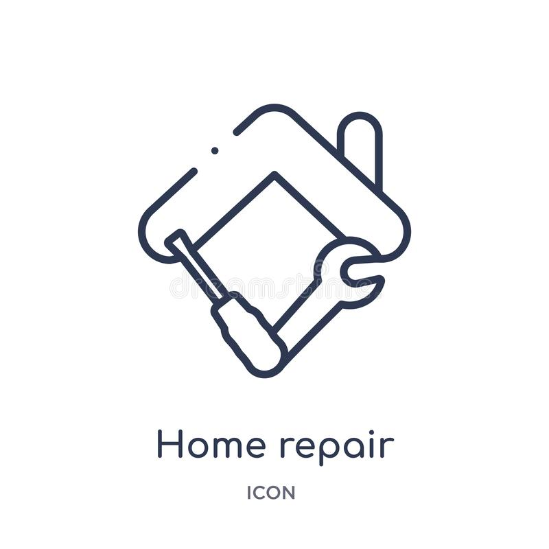 Linear home repair icon from Construction tools outline collection. Thin line home repair vector isolated on white background. vector illustration