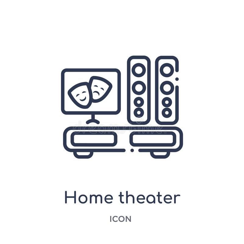 Linear home theater icon from Cinema outline collection. Thin line home theater vector isolated on white background. home theater stock illustration