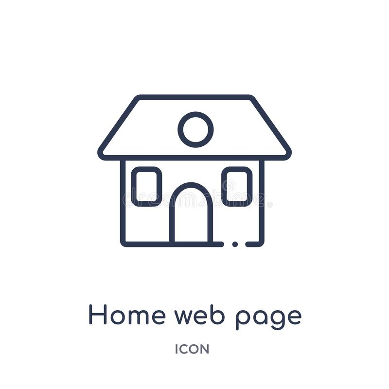 Linear home web page icon from Buildings outline collection. Thin line home web page icon isolated on white background. home web royalty free illustration