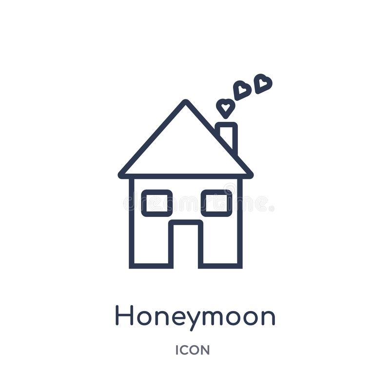 Linear honeymoon icon from Birthday party outline collection. Thin line honeymoon vector isolated on white background. honeymoon royalty free illustration
