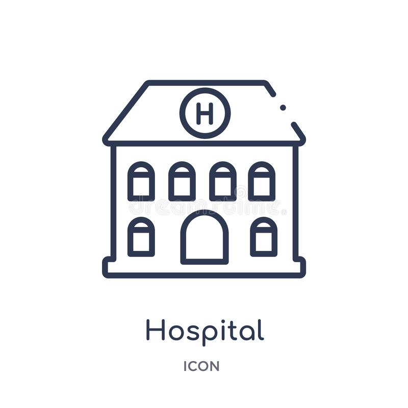 Linear hospital building front icon from Medical outline collection. Thin line hospital building front icon isolated on white stock illustration