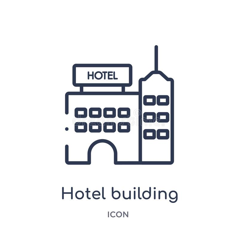 Linear hotel building icon from Holidays outline collection. Thin line hotel building icon isolated on white background. hotel stock illustration