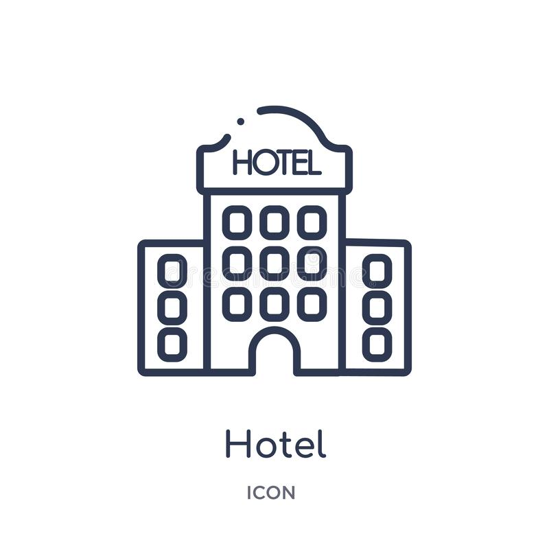 Linear hotel icon from Hotel outline collection. Thin line hotel icon isolated on white background. hotel trendy illustration vector illustration